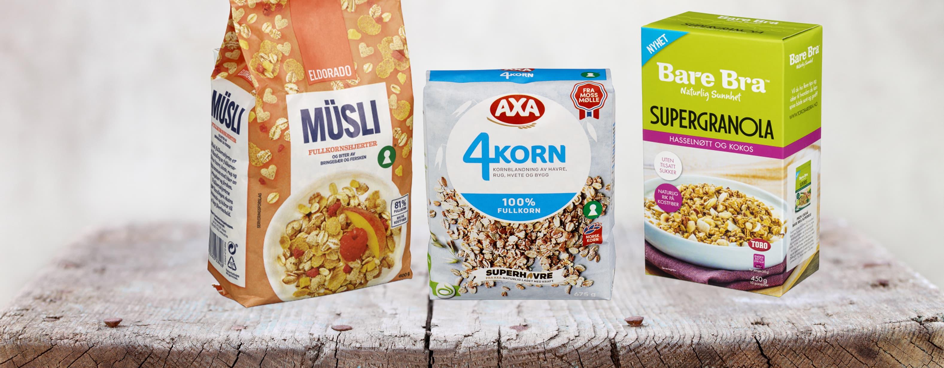Best i test: Bare bra Supergranola, Axa 4korn og Eldorado fullkornshjerter anses alle som gode, sunne alternativer på frokostbordet.