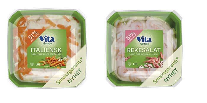 Vita hjertego' rekesalat og Vita hjertego' italiensk salat finner du i alle KIWI-butikker.