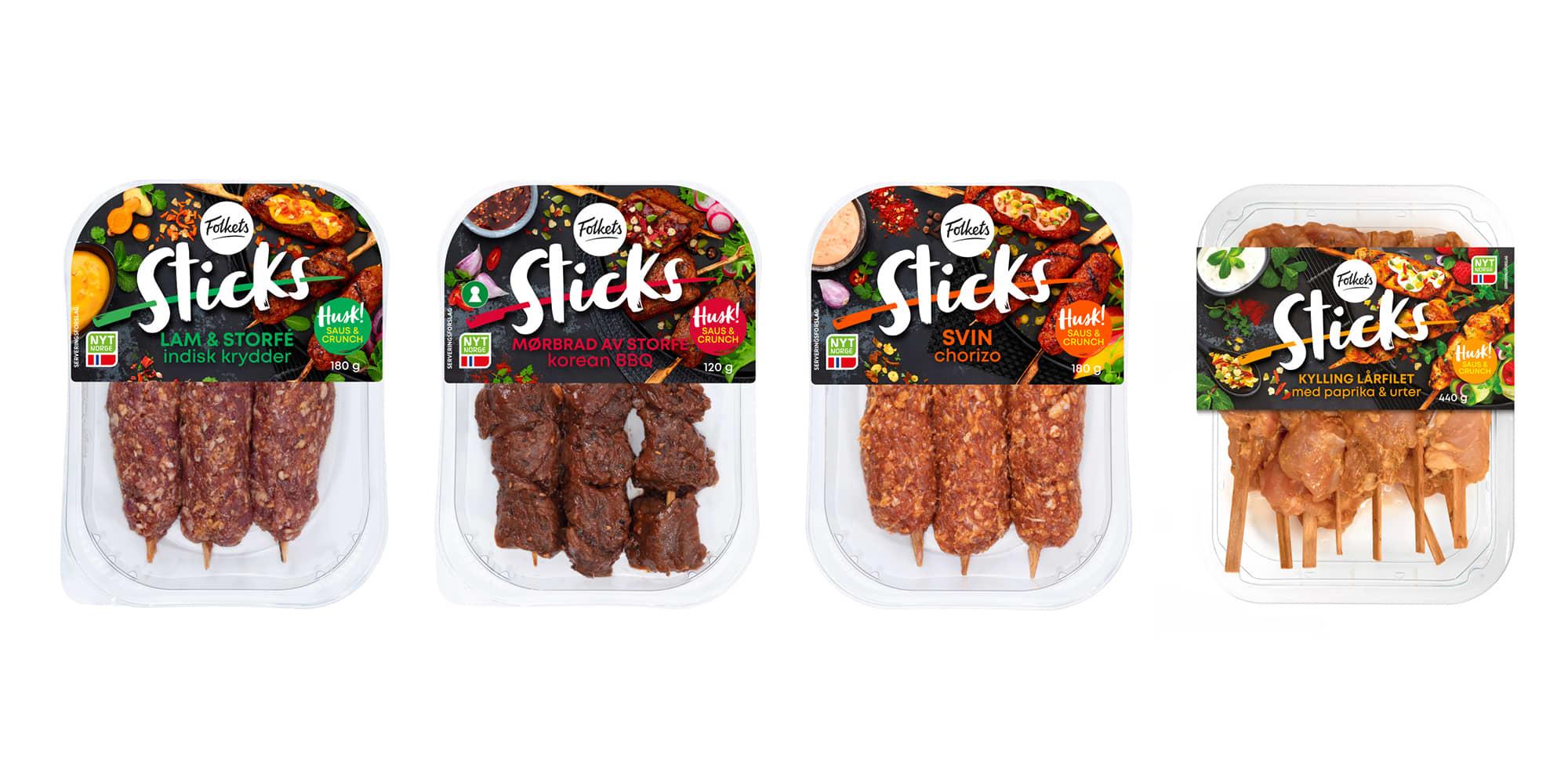 Sticks: Lam & storfe med indisk krydder, Mørbrad av storfe Korean BBQ, Svin Chorizo og Kylling lårfilet chili & sitrus.