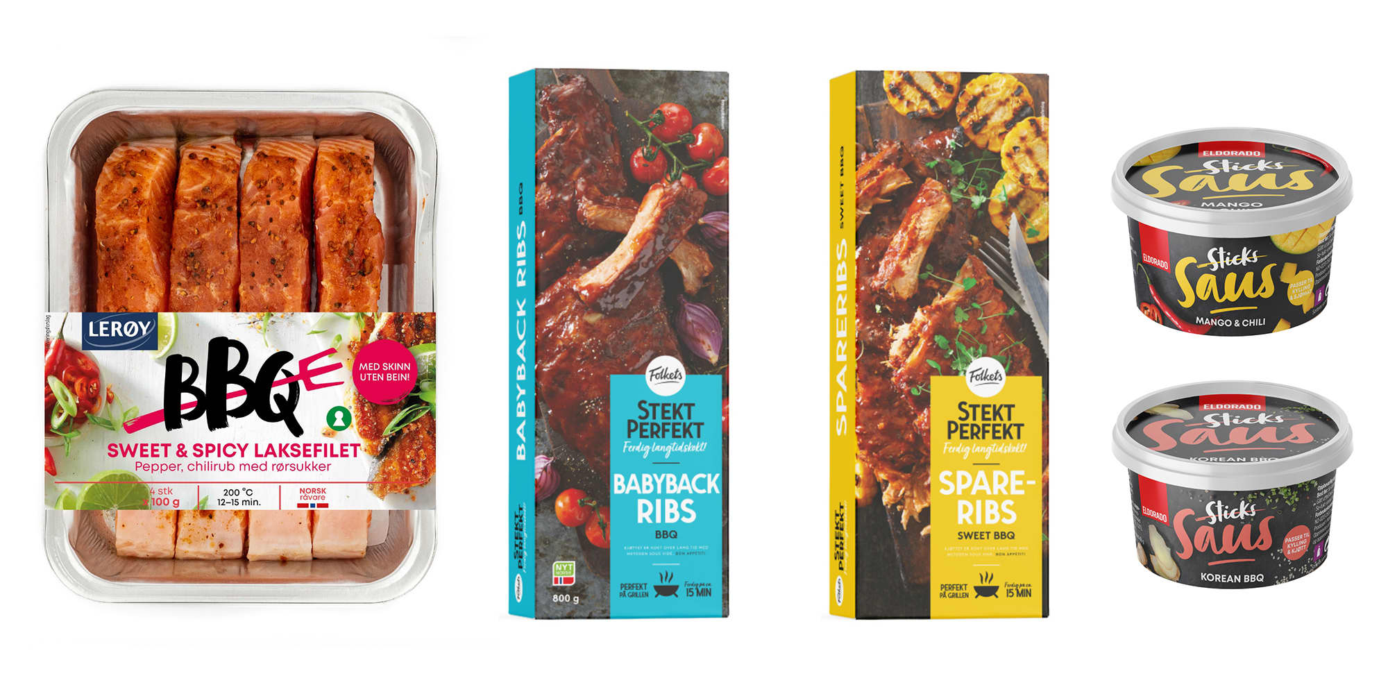 BBQ Sweet & spicy laksefilet, Babyback ribs, Sweet BBQ Spareribs og nye Sticks-sauser.