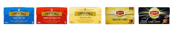 Twinings Lady Grey, Twinings English Breakfast, Twinings Earl Grey, Lipton Yellow Label, Lipton Earl Grey.