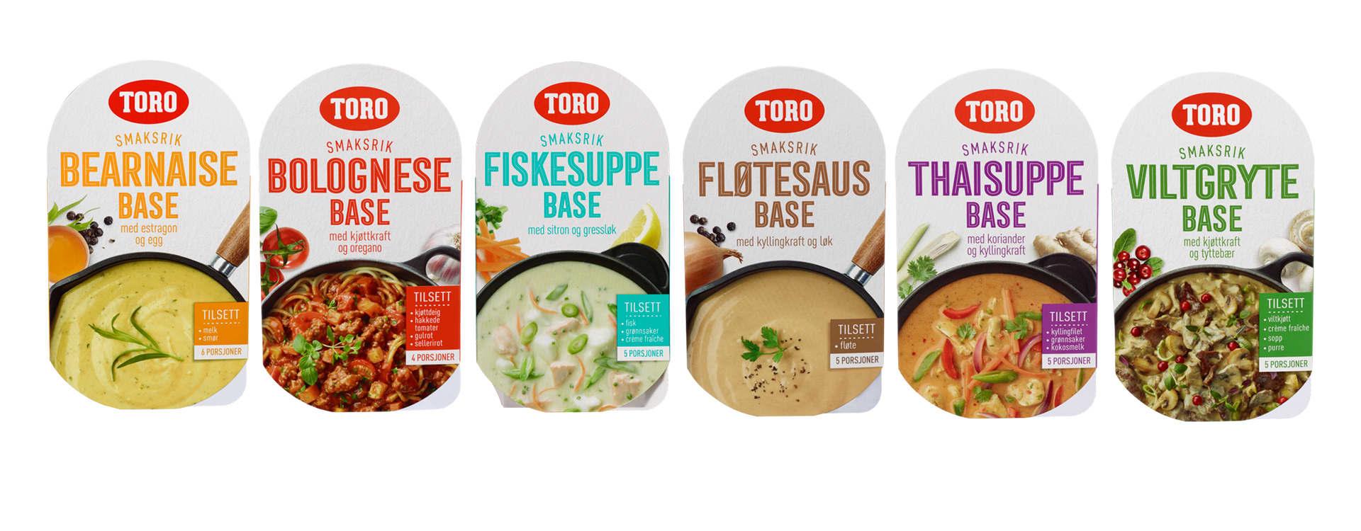 Disse variantene av TORO smaksrike baser finner du i alle KIWI-butikker: Thaisuppe-base, Fiskesuppe-base, Bearnaise-base, Bolognese-base, Viltgryte-base og Fløtesaus-base.