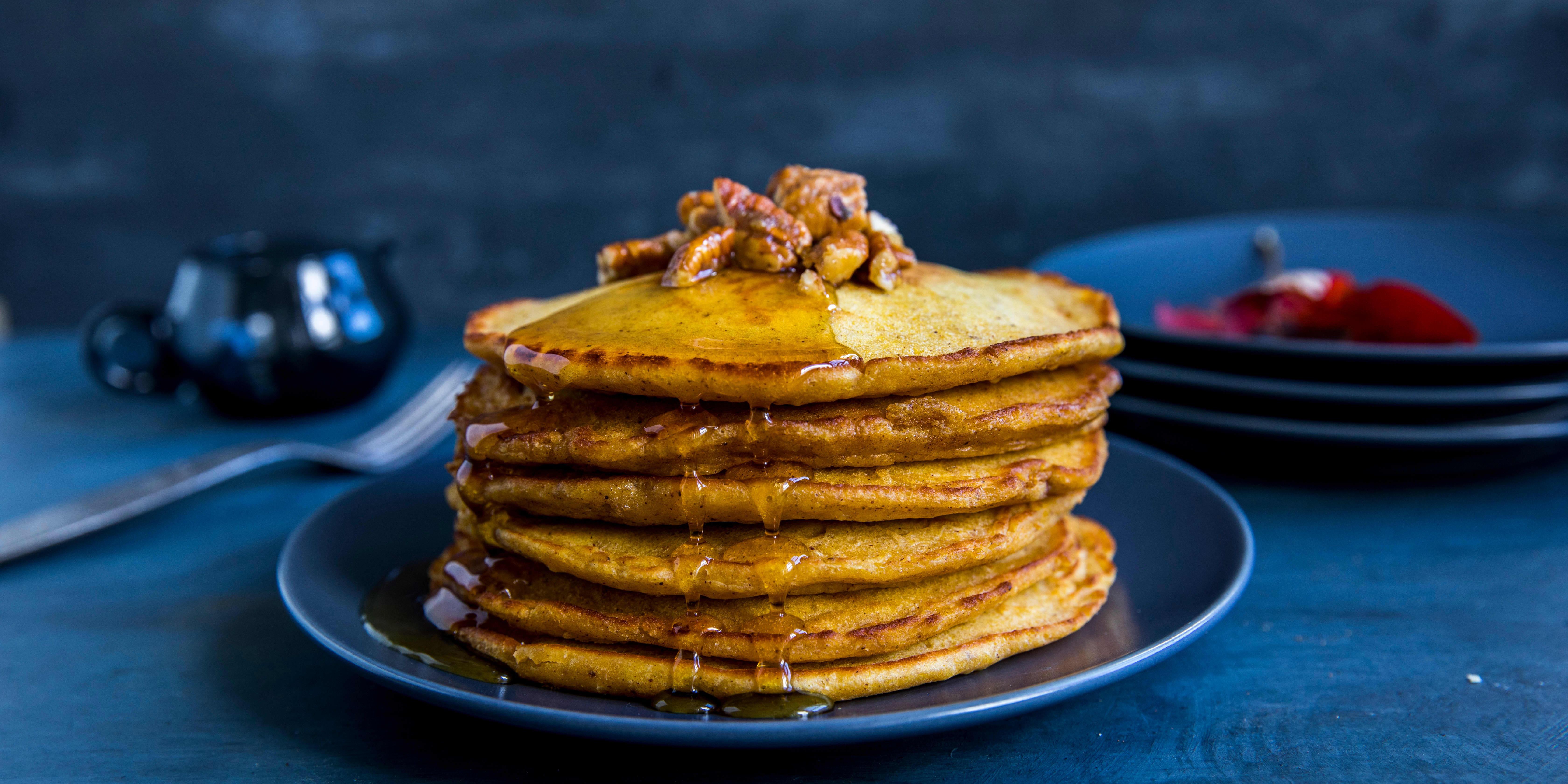 PANNEKAKER: Gresskarpuré blir nydelig i pannekaker.