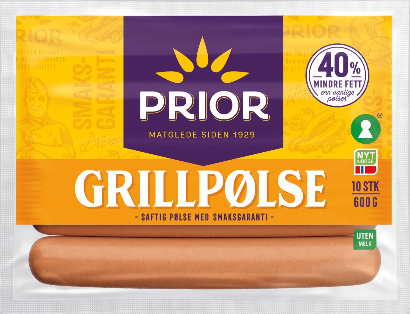 Prior grillpølser har lite mettet fett og bra med innhold av kjøtt.