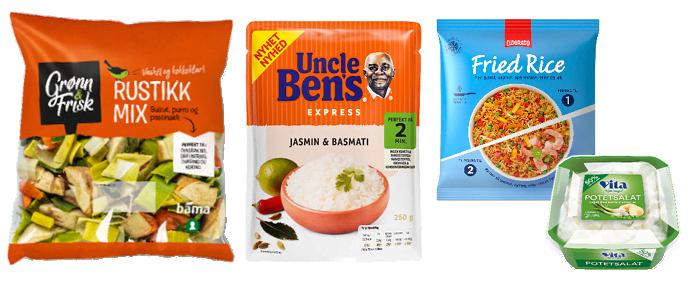 Ferdigkuttede grønnsaker, ekspress-ris og en sunnere potetsalat er blant tilbehørsnyhetene i år.