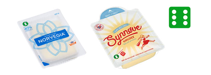 Hos KIWI får du testvinnerne Norvegia Lett 16% og Synnøve Lett 16% som ferdig skivet ost.