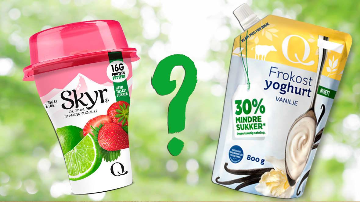 Hva er forskjellen? Mens yoghurt er et melkeprodukt syrnet med melkesyrebakterier, er Skyr® egentlig et osteprodukt.