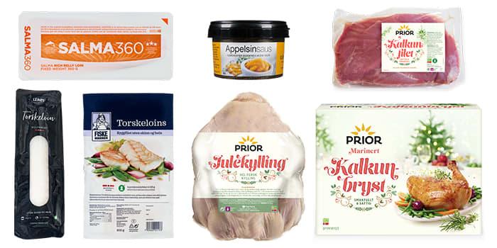 Du finner mye godt hos KIWI til jul. Av torskeloins finnes den ferske fra Lerøy i utvalgte butikker, de øvrige produktene på bildet selges i alle butikker.