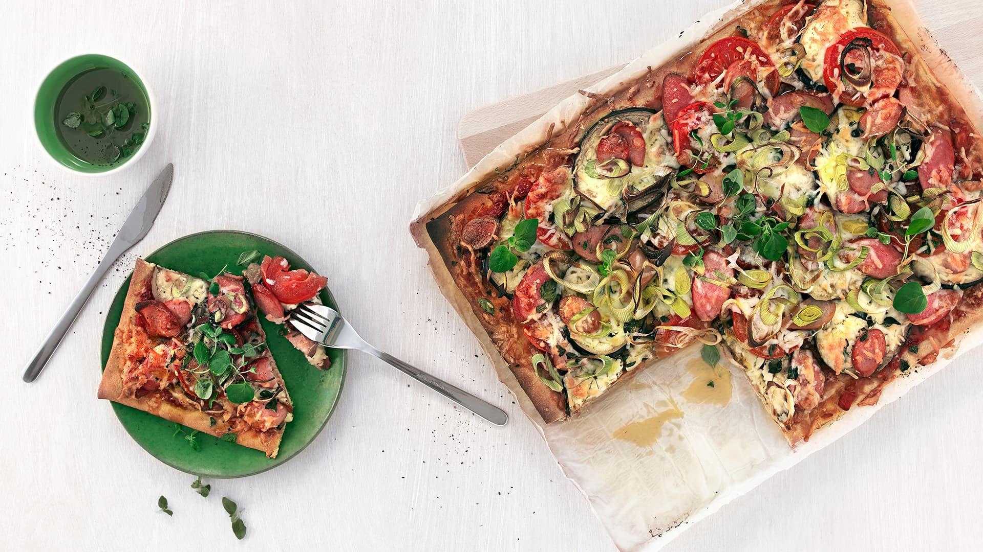 Familiepizza i langpanne