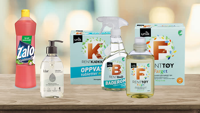 RentHjem er en ny serie med billige rengjøringsprodukter hos KIWI. I tillegg vil du finne den populære håndsåpen fra Klar i alle våre butikker, samt Zalo Epleblomst.