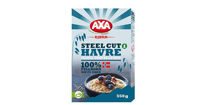 Med Steel Cut Havre fra Axa får du ferdig grøt på 6-8 minutter. Grøten er nøkkelhullmerket og rik på fiber.