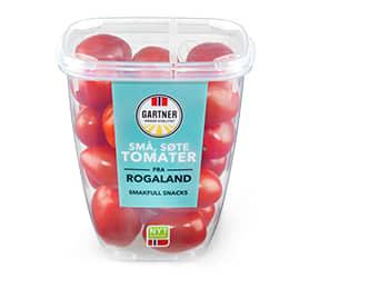 Søte tomater inneholder en miks av cherrytomater og miniplommetomater.