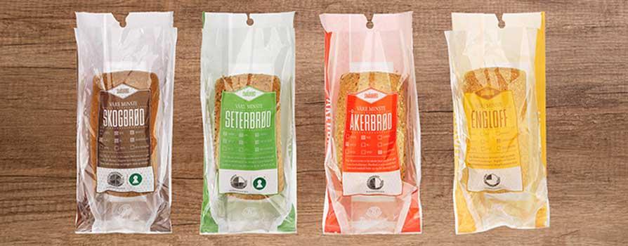"""Slik så brødposene til """"Våre minste brød"""" ut før redesign til rene papirposer"""