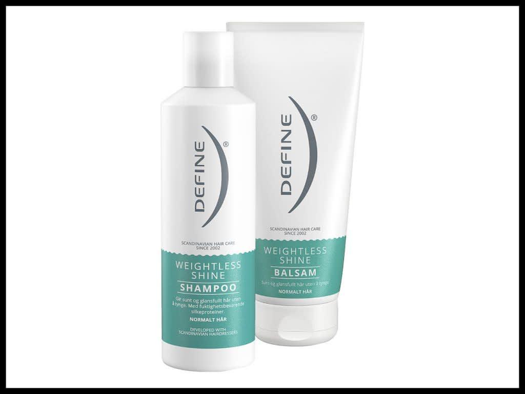 DEFINE SHAMPOO WEIGHTLESS SHINE 250ML: Produktet inneholder fuktighetsbevarende silkeproteiner og rengjør håret for glansdempende stoffer og smuss. Til normalt hår. DEFINE BALSAM WEIGHTLESS SHINE 200ML: Balsamen lukker skjellaget i hvert hårstrå slik at det blir sterkere og får en jevnere overflate som gjør håret mer glansfullt. Til normalt hår.