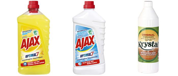 Ajax og Krystal grønnsåpe passer til mange forskjellige gulvoverflater. Men ikke alle!