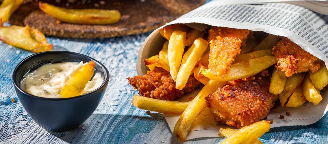 Nydelig Fish and Chips med remulade