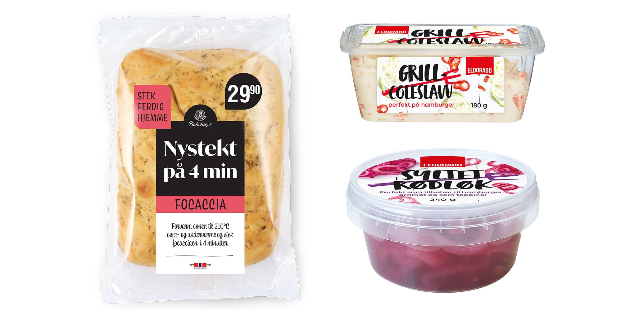 Foccacia, grill coleslaw og syltet rødløk.
