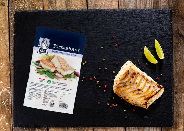 Fryste torskeloins fra Fiskemannen fås kjøpt i alle KIWI-butikker.