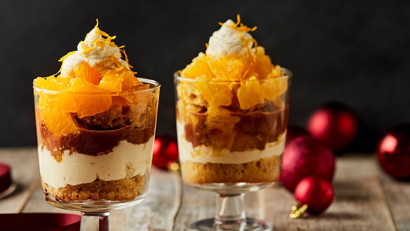 """Oppskrift """"Trifle"""" med gløgg, appelsin- og sjokoladekrem"""