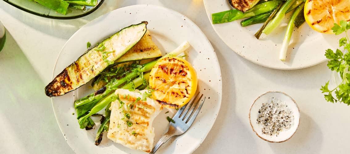 Grillet torsk med hvitløk og squash