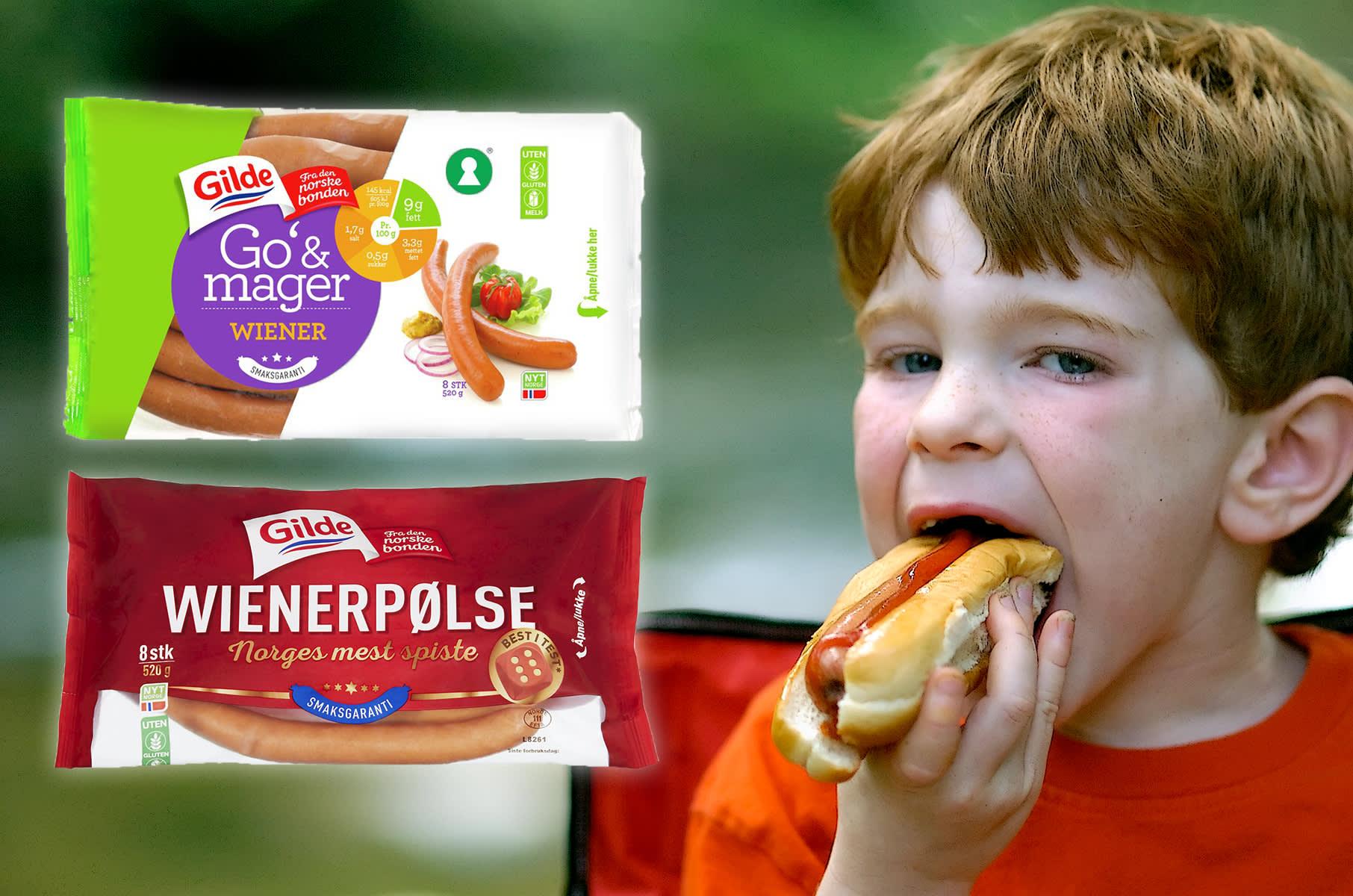 Gilde Go´& mager wienerpølse og Gilde wienerpølse er begge uten både gluten og melk, og er et trygt valg i barnebursdag. FOTO: montasje produsent/iStock