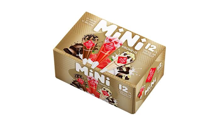 Nyheten Krone-is Mini Snack selges i multipack med 12 små is i esken.