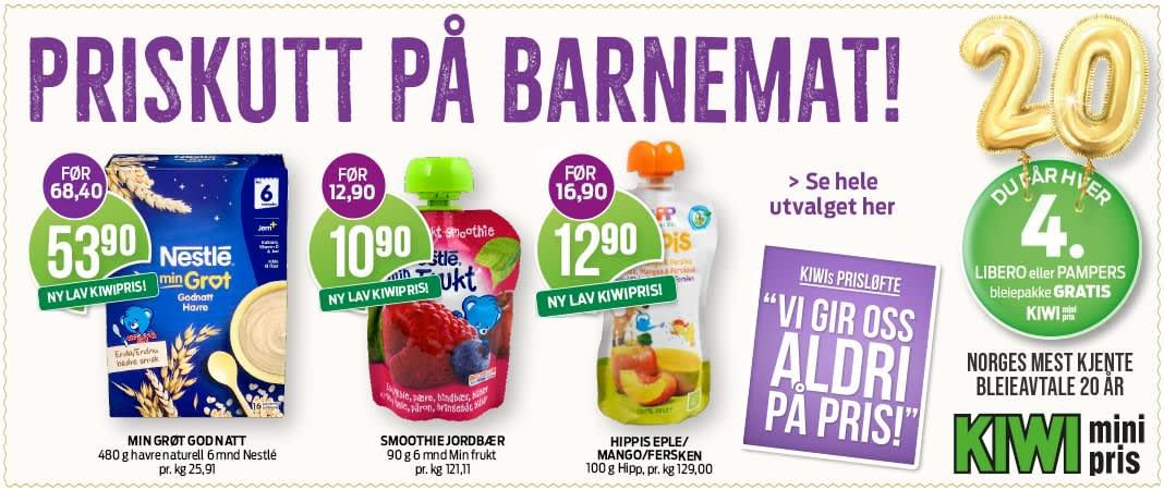 Nå kutter KIWI prisene på mer enn 130 varer, som inkluderer hele 36 barnematprodukter. Tilbudet gjelder frem til 3. oktober.