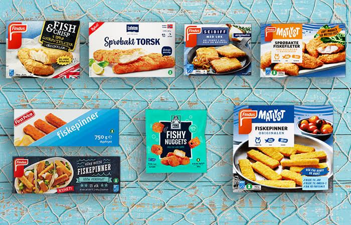 Et utvalg av fryste panerte produkter du får kjøpt hos KIWI.