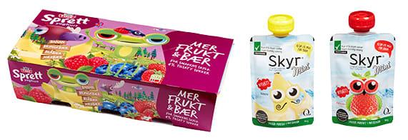 Barneyoghurt inneholder ofte mindre sukker enn vanlig yoghurt. De har heller ikke tilsatt kunstig sukker.