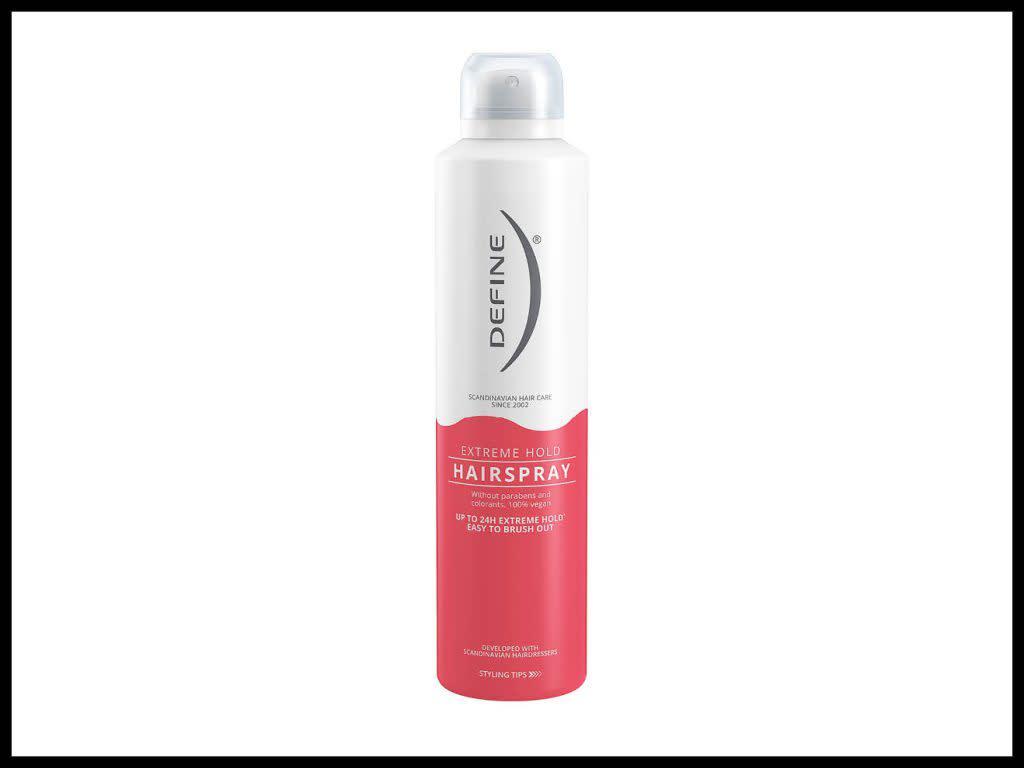 DEFINE HÅRSPRAY EXTREME HOLD 250ML: Sprayen gir en perfekt finish på frisyren, også ved bruk av rettetang og krølltang.
