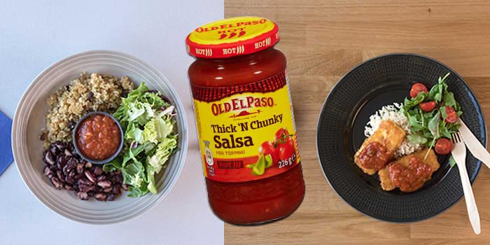 Resten av tacosausen kan godt brukes i flere middager. Til venstre er en kjøttfri middag med bønner og quinoa, til høyre har du en fiskemiddag med torskenuggetsm ris og salsa.