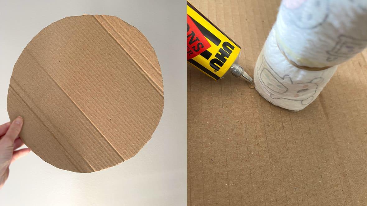 Ved å lime fast en rullet bleie i midten av pappsirkelen vil dette gi et mer stabilt grunnlag for resten av bleiekaken.
