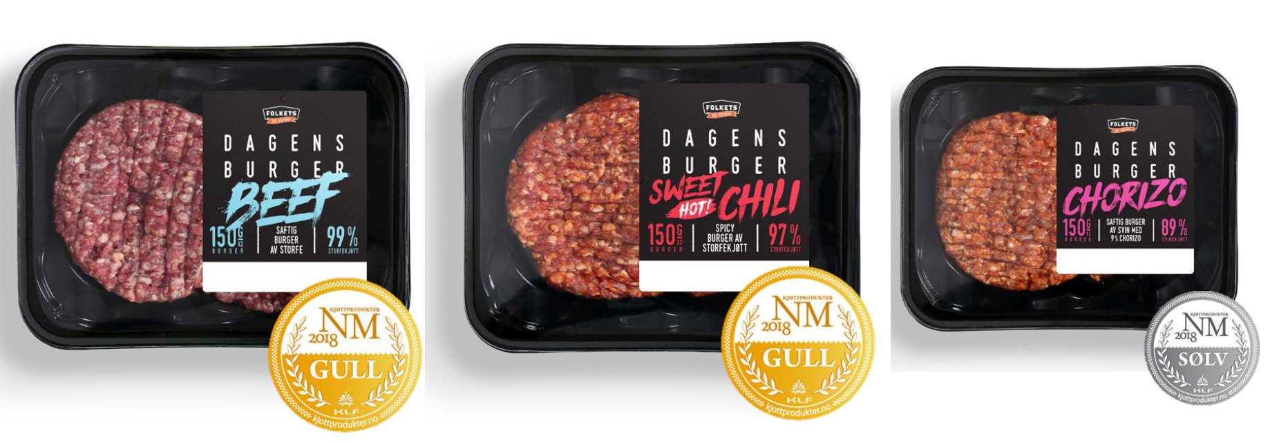 BURGERVINNERE: Disse burgerne fikk medalje i NM i kjøttprodukter 2018