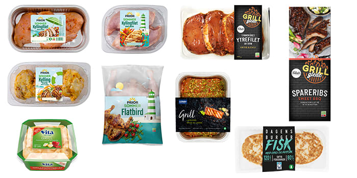Kylling, fisk og svin smaker alltid godt på grillen. Husk gjerne en litt sunnere potetsalat, som denne fra Vita Hjertego'.