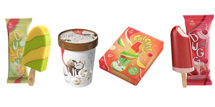 DUGG sorbet-is, DUGG vegansk kokos-is, frukt-is med høyere andel frukt og DUGG yoghurt-is.