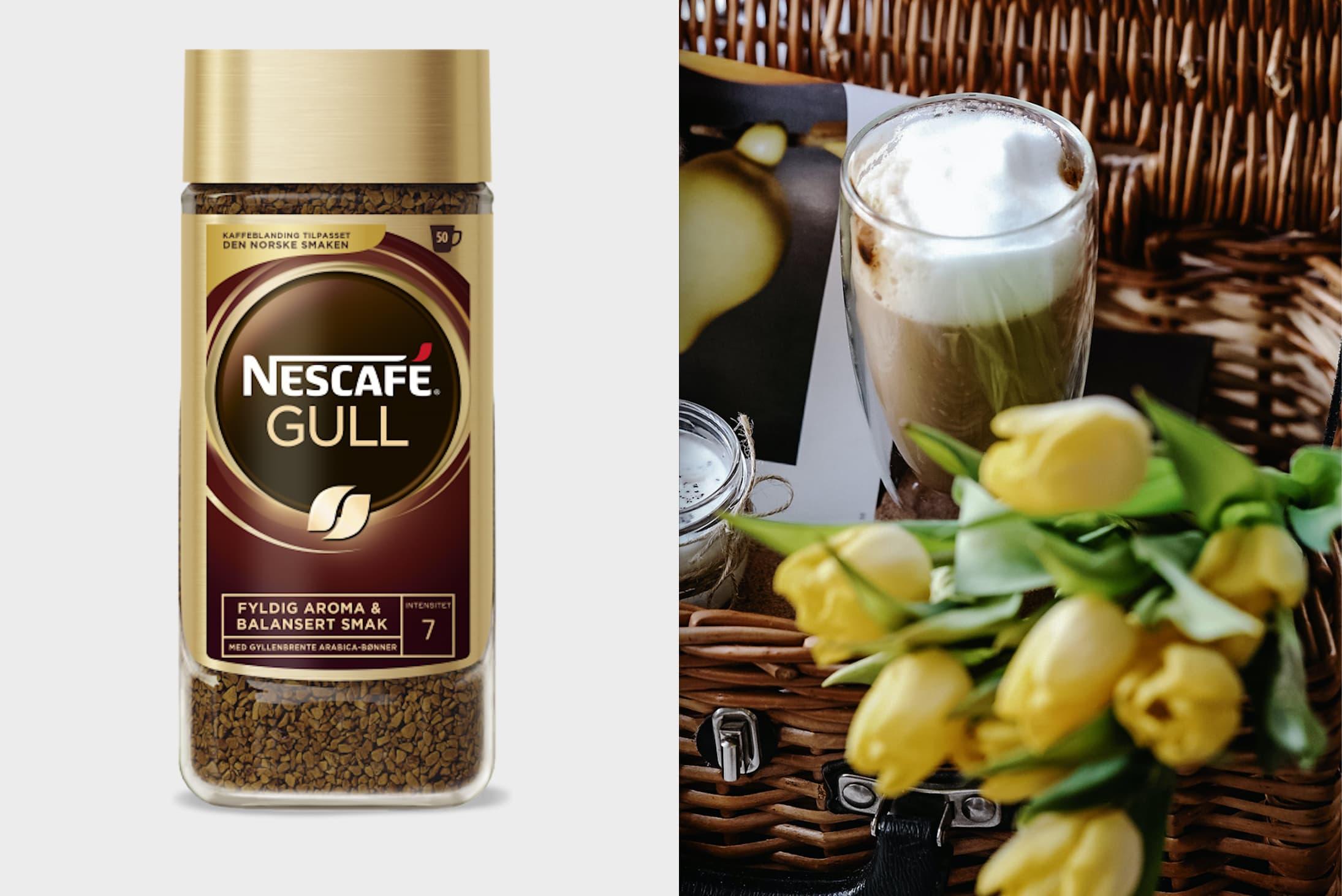 Bland ut Nescafé Gull i varmt vann og hell over i glasset til slutt.