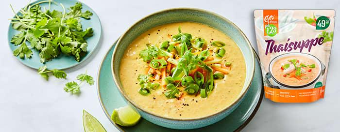Thaisuppen fra Go'Middag på 1,2,3 kan enkelt gjøres enda bedre med litt ekstra grønnsaker.