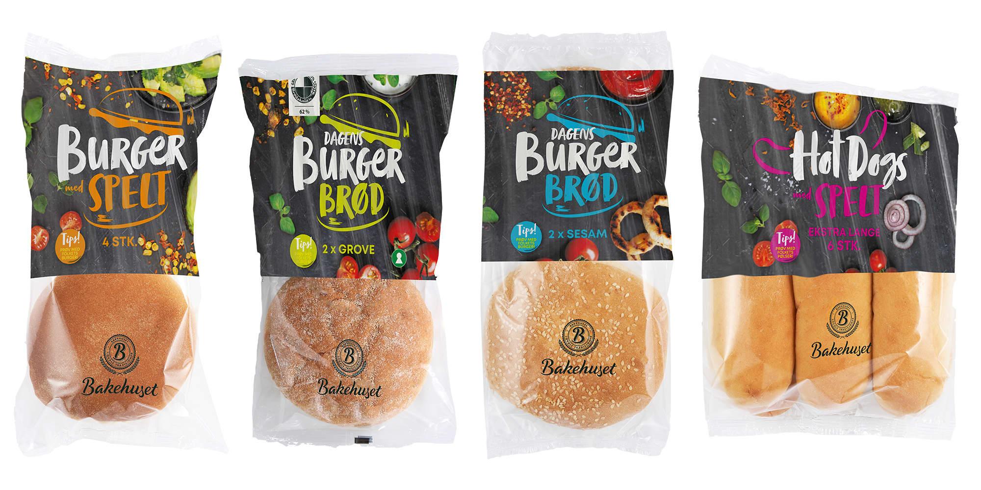 Nyheter fra Bakehuset: Spelt burgerbrød, Dagens Grove burgerbrød, Dagens Sesam burgerbrød og Spelt pølsebrød.