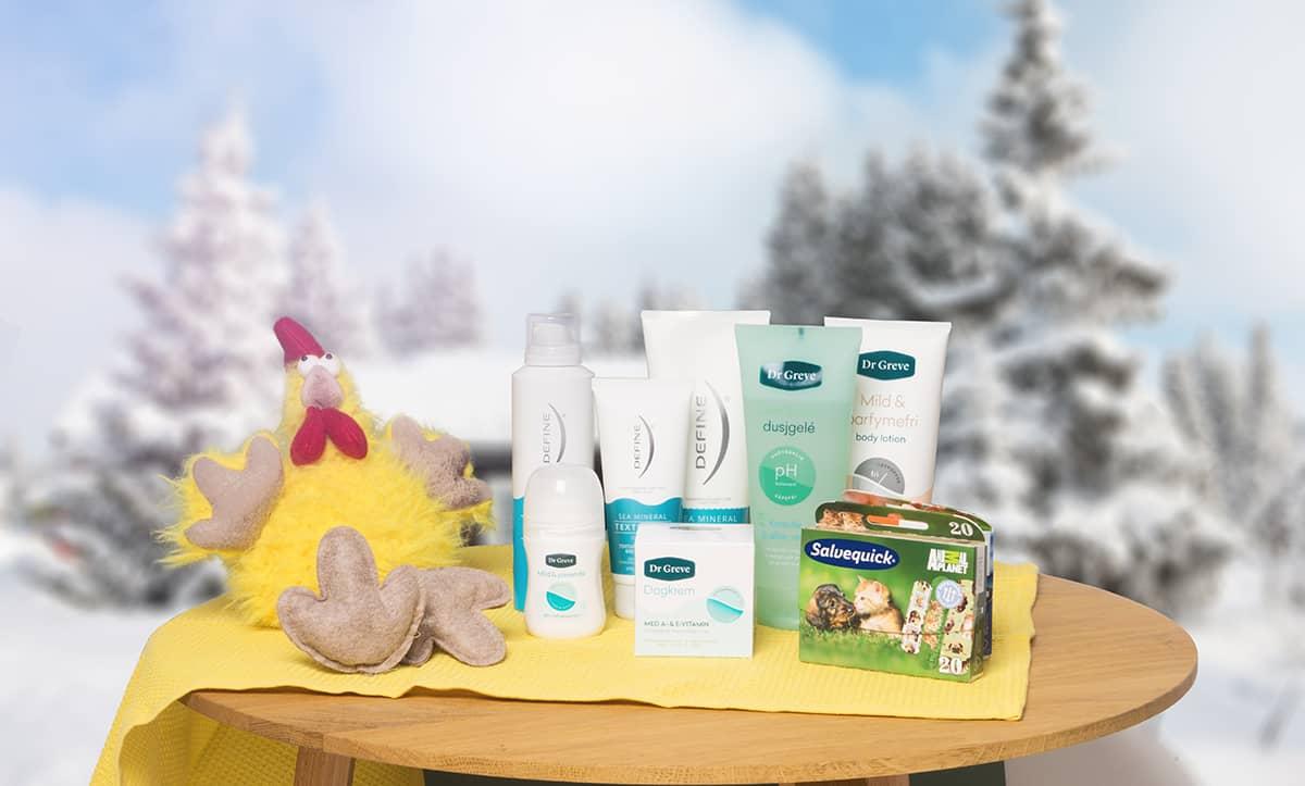 Premien er levert av Orkla Home, og består av produkter fra Define, Dr. Greve og Salvequick.