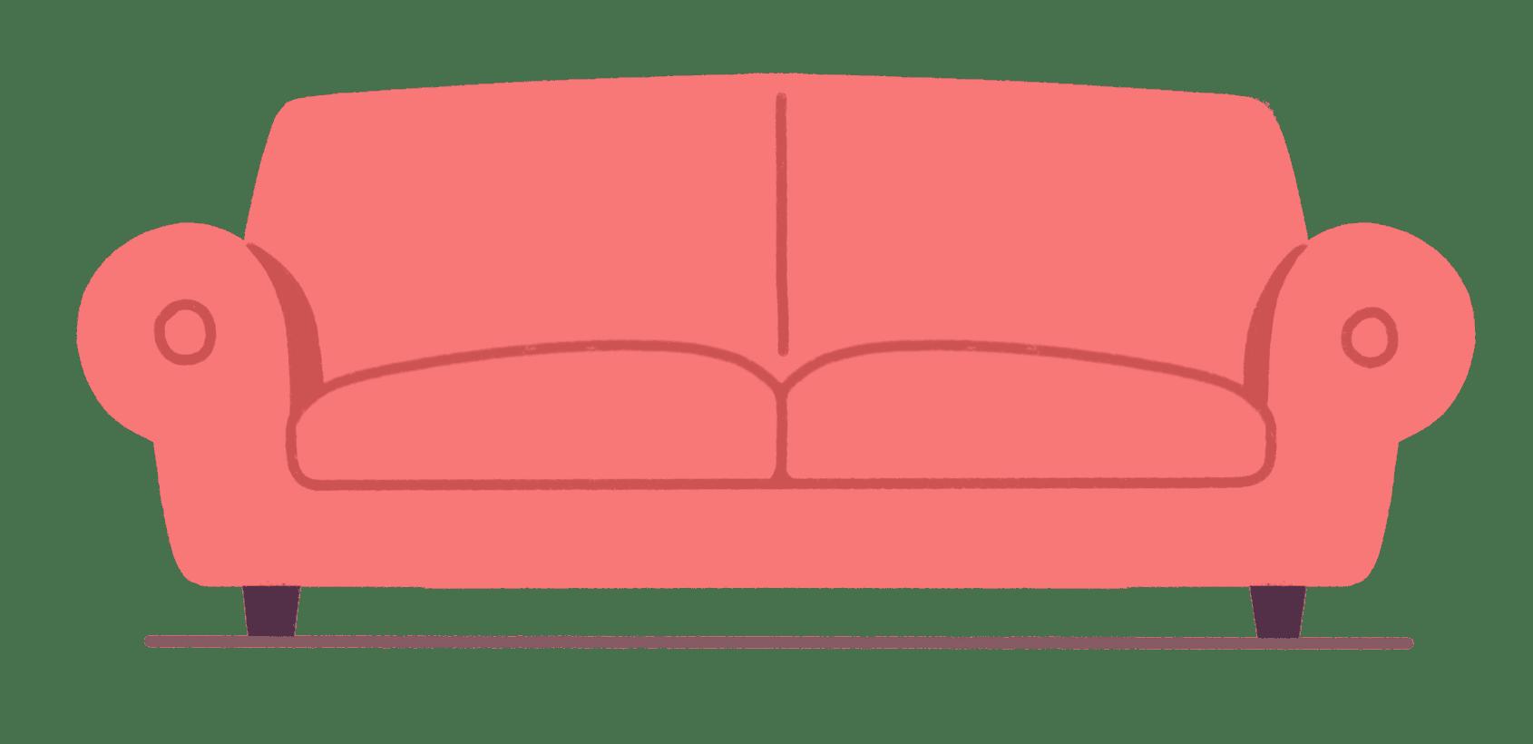 Illustrasjon av rød sofa