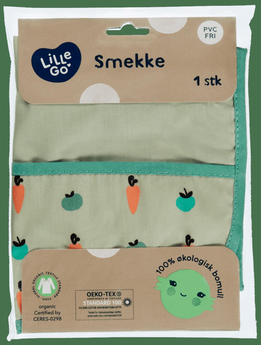 Easy wipe smekken er laget smekken er laget av 100% økologisk bomull.