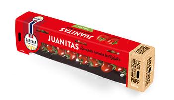 Juanita-tomatene høstes på gren.