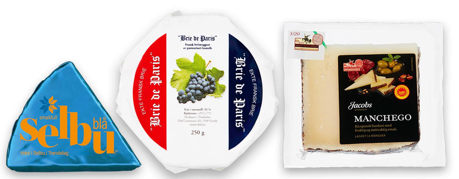 Disse tre ostetypene er Christers favoritter blant de variantene du får kjøpt hos KIWI.