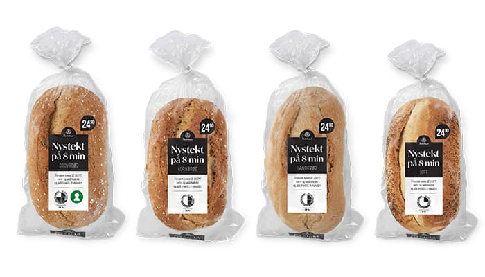 Disse variantene av «Nystekt» får du hos KIWI: Grovbrød, Kornbrød, Landbrød og Loff.