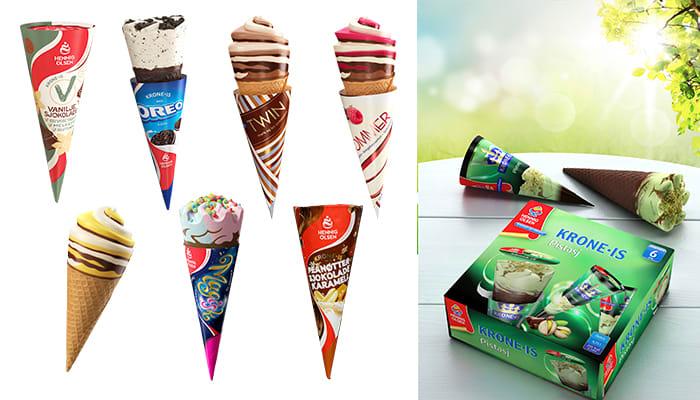 Et utvalg av forskjellig Krone-is som har vært eller fortsatt er å finne i butikken.