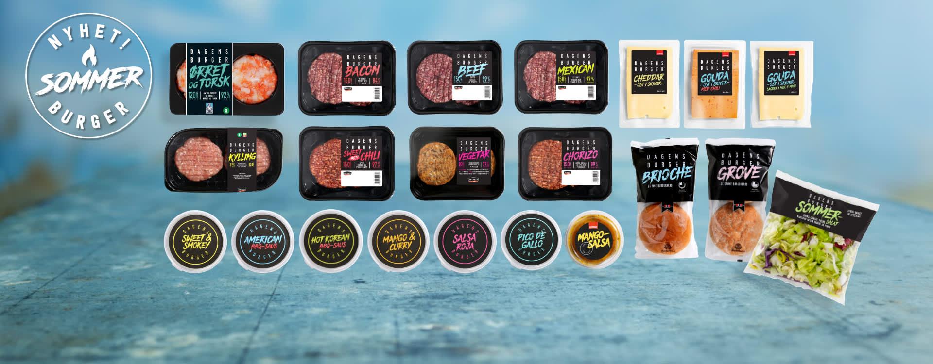 KIWIs burgerserie inneholder åtte nye burgere, sju forskjellige sauser, to typer burgerbrød, tre typer ost og en salatblanding
