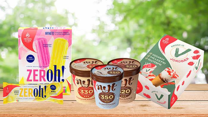 ZERoh! pinne-is uten sukker eller kalorier, NYT-serien og Krone-is Vegan med jordbær er bare noen av nyhetene fra Hennig-Olsen Is som du vil finne i all KIWI-butikker denne våren.