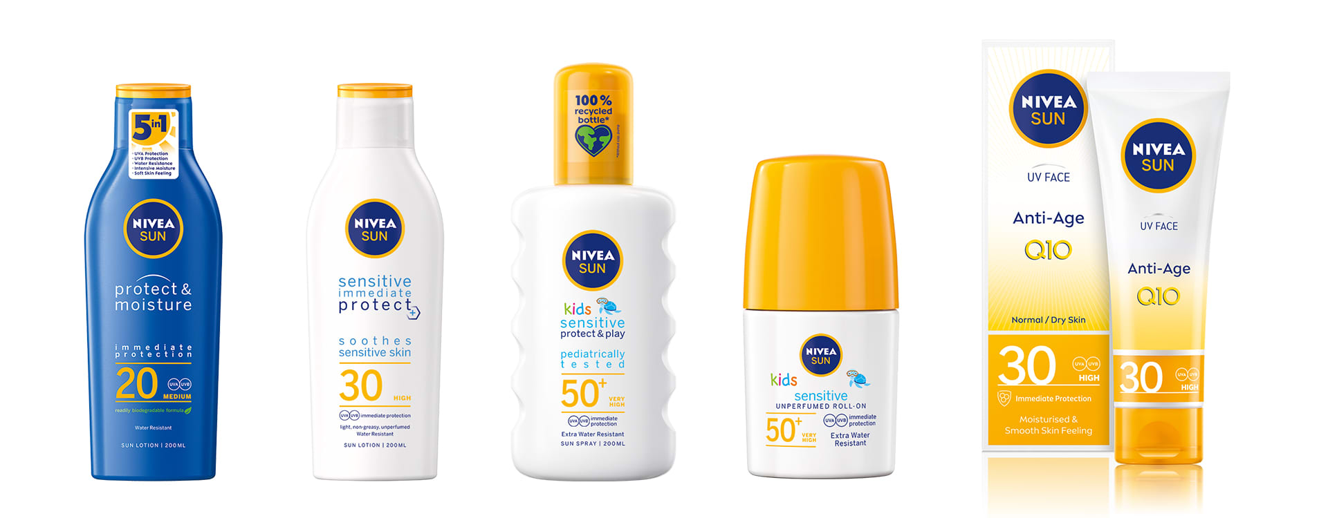 NIVEA Sun Protect, Sensitive-serien, som er tilpasset sensitiv hud og barn og NIVEAs UV Face SPF 30.