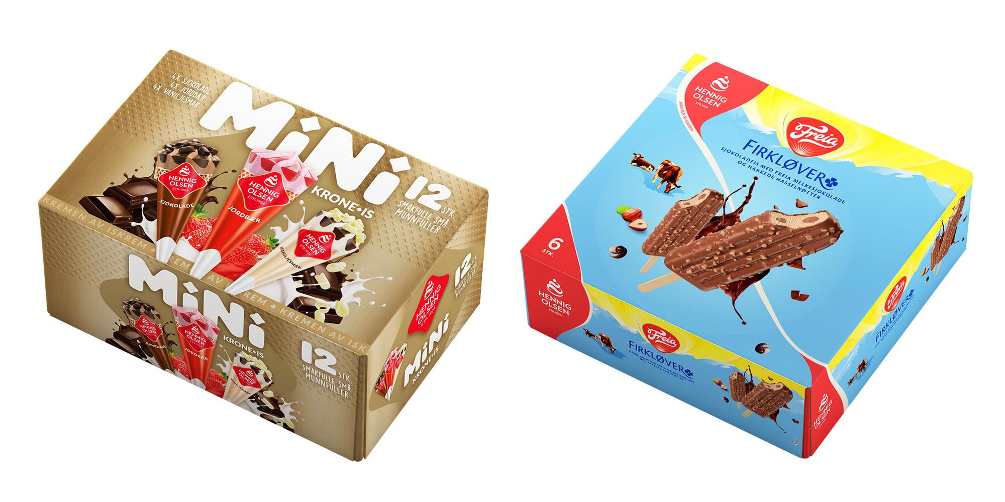 Fra Hennig Olsen: Krone-is Mini Snack og Freia Firkløver-is i 6-pk.