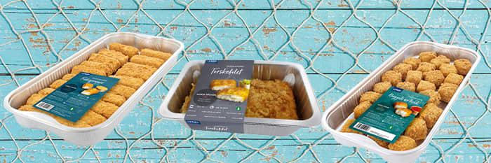 Ferske panerte fiskeprodukter du får kjøpt i alle KIWI-butikker fra Lerøy: Pankopanert torskefilet, torskenuggets og torskepinner.